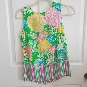 """Lilly Pulitzer Tops - Lilly Pulitzer """"Iona Shell"""" Silk Hibiscus Stroll"""